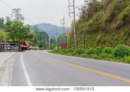 MAE HONG SON, THAILAND - 8 APRIL 2016: The road at the rest area Route from Mae hong son to Chiangmai Thailand.