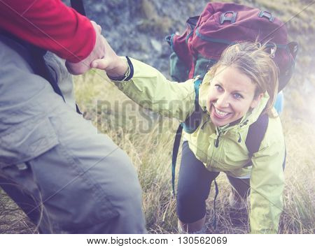 Hiker Support Exercise Extreme Sports Concept