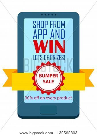 vector illustration of Shop and Win concept for mobile application shopping