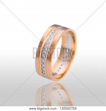 The beauty wedding ring. Isolated on white background.