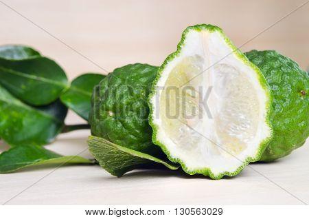 Bergamots (Other names are Kaffir lime Citrus Magnoliophyta Rutaceae) fruits with leaf