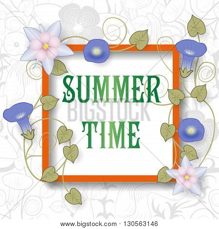 Template Frame with flowers and pattern on background. Summer time vector illustration