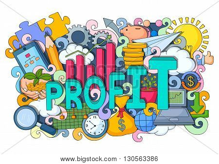 vector illustration of doodle on Profit concept