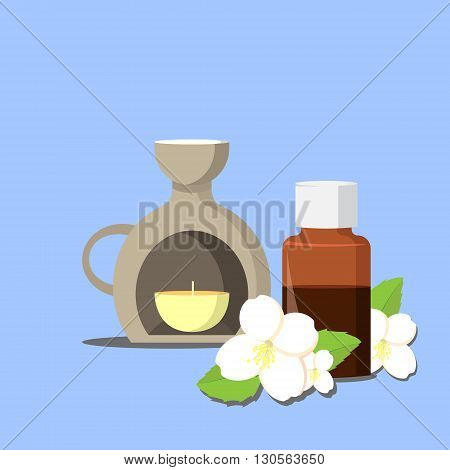 vector illustration of essential oil of jasmine with aroma lamp