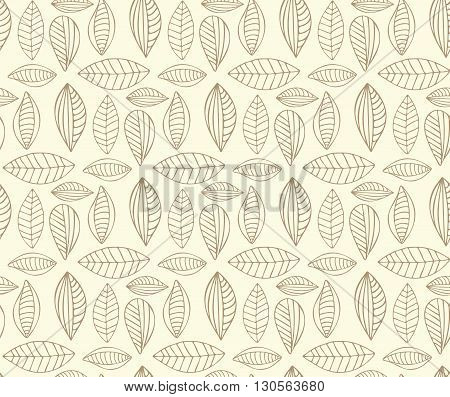 Vector Seamless stylized leaf pattern on white background. Hand drawn seamless pattern