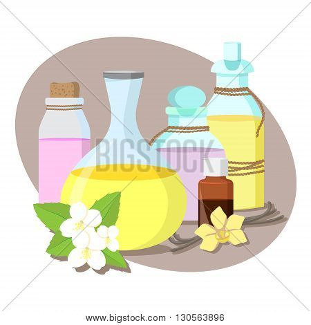 vector set of five bottles with essential oils for aromatherapy / jasmine and vanilla flowers