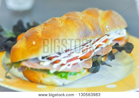 baguette with ham and vegetable stuffed dish