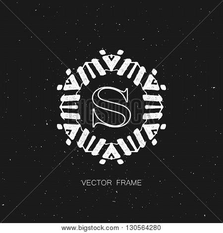 vector floral monogram. art-deco white frame. monogram frame. art-deco line art element for design