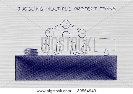 Business Man Juggling Time (clocks) At The Office, Mulltiple Project Tasks