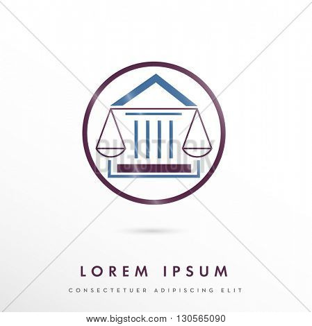MODERN CORPORATE VECTOR LOGO / ICON DESIGN OF A LAW SCALE INCORPORATED WITH A COURTHOUSE . COLORS USED : BLUE, PURPLE,
