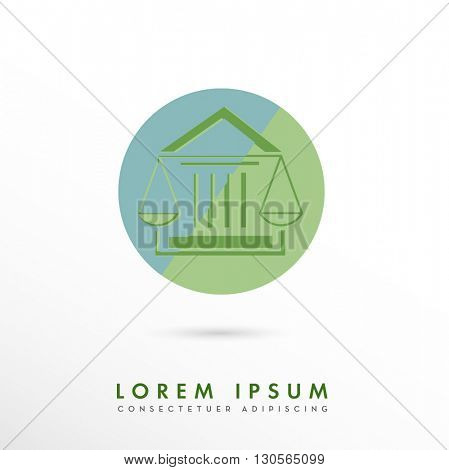 MODERN CORPORATE VECTOR LOGO / ICON DESIGN OF A LAW SCALE INCORPORATED WITH A COURTHOUSE . COLORS USED : BLUE,GREEN
