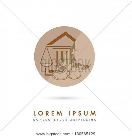 MODERN CORPORATE VECTOR LOGO / ICON DESIGN OF A LAW SCALE INCORPORATED WITH A COURTHOUSE AND AN