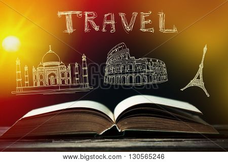 Open book and vector icons with light background