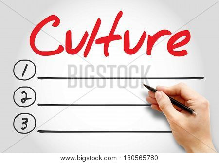 Culture blank list business concept background, presentation background