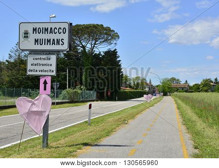 Moimacco Italy - May 20th 2016. The village of Moimacco in Friuli Venezia Giulia is decorated in anticipation of the arrival of the 2016 Giro d'Italia passing through the village for the first time in 40 years. This is stage 13 (Palmanova-Cividale)