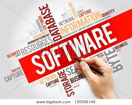 Software word cloud business concept, presentation background