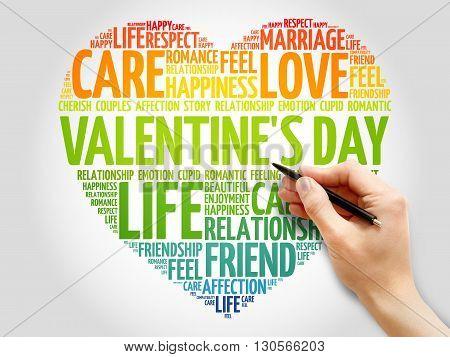 Valentine's Day concept heart word cloud, presentation background