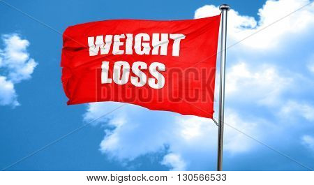 weight loss, 3D rendering, a red waving flag