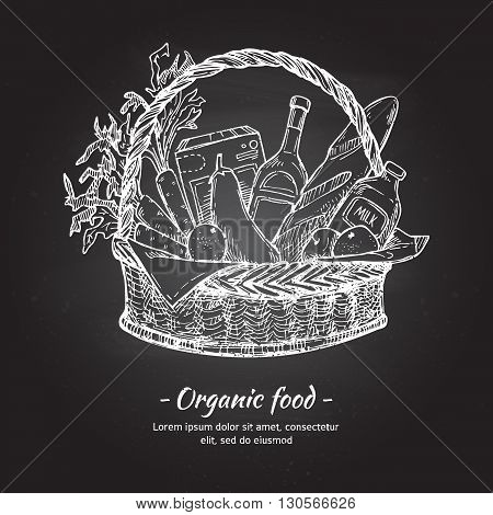Hand drawn vector illustration - Supermarket shopping basket with organic food. Grocery store. Chalk sketch