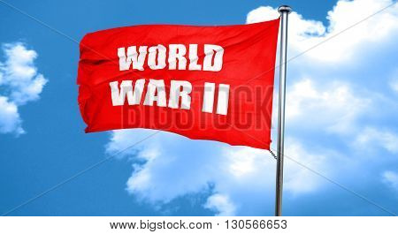 World war 2 background, 3D rendering, a red waving flag