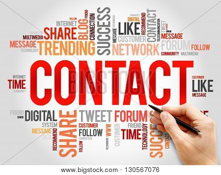 Contact word cloud business concept, presentation background