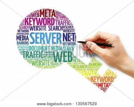 Server Key word cloud business concept, presentation background