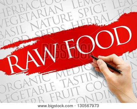 RAW FOOD word cloud health concept, presentation background