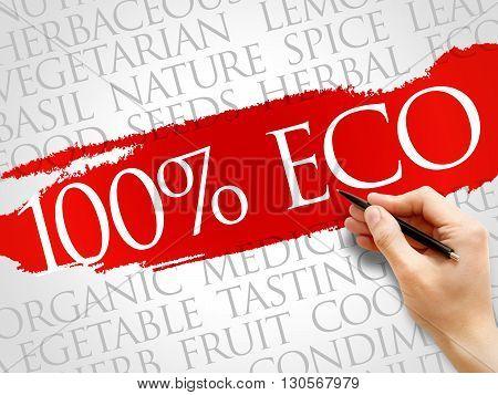 100% ECO word cloud health concept, presentation background