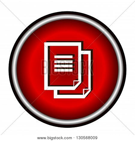 Document icon. red round button isolated on white background, web design illustration