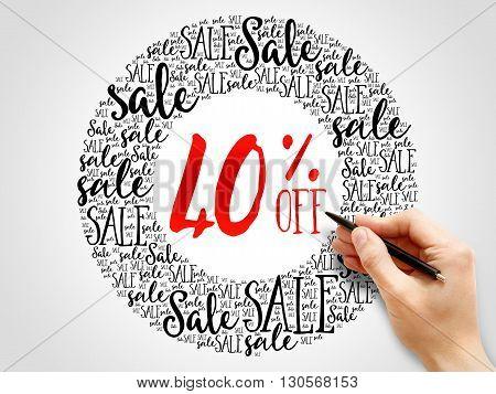 40% Off Sale Words Cloud