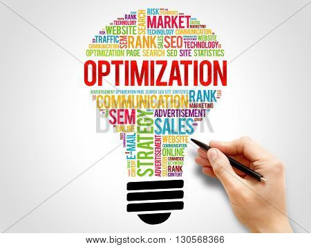 OPTIMIZATION bulb word cloud business concept, presentation background