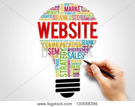 WEBSITE bulb word cloud business concept, presentation background