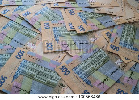 Ukrainian money hryvnia closeup many pieces are