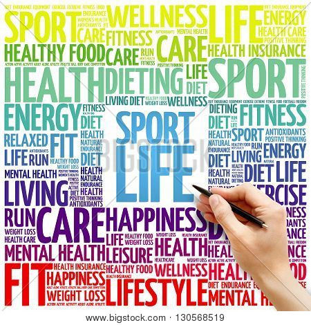 Sport Life word cloud background health concept
