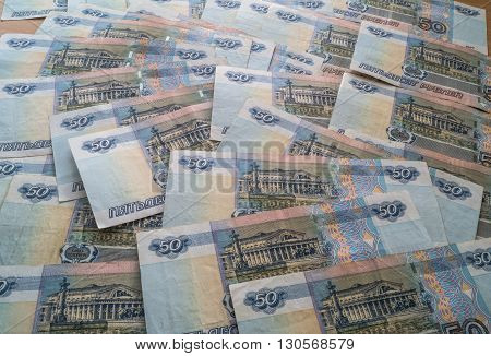 Russian money rubles closeup on the table