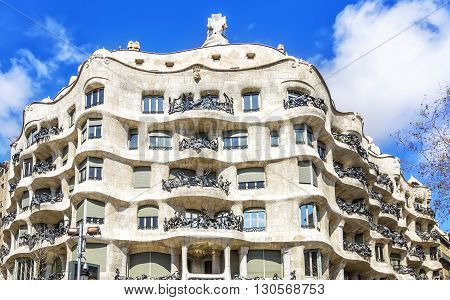 Facade Of Casa Mila (la Pedrera) By Antoni Gaudi  In Barcelona, Spain.