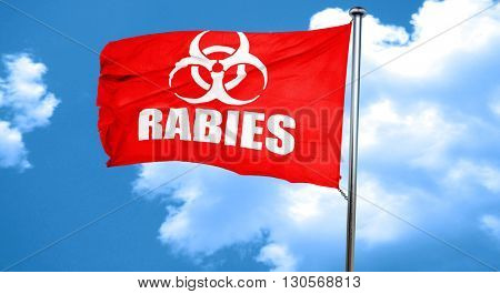 Rabies virus concept background, 3D rendering, a red waving flag