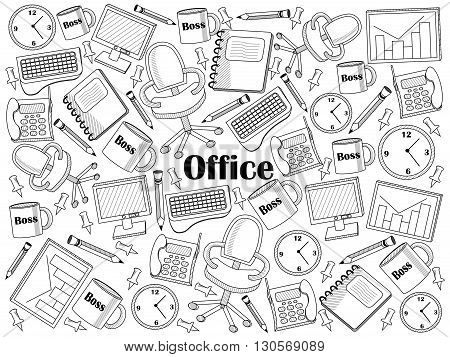 Office design colorless set vector illustration. Coloring book. Black and white line art