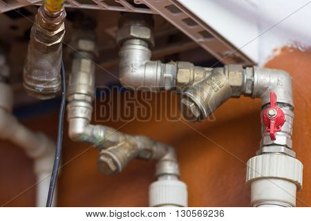 Boilers pipe in a house close up