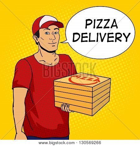 Pizza delivery guy. Cartoon pop art vector illustration. Human comic book vintage retro style.