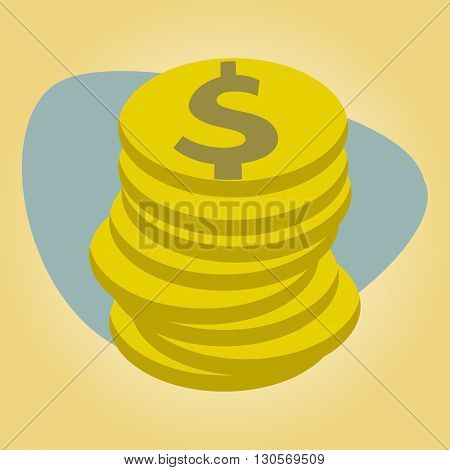 Stack of coins on a colored background