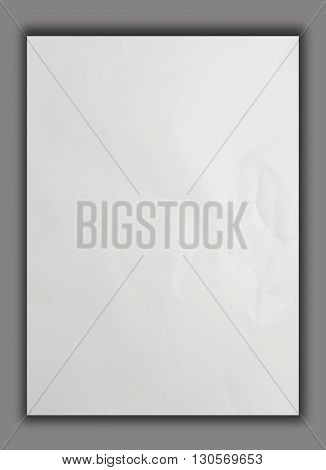 White crumpled paper on gray background isolated Clipping path
