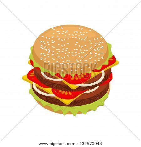 Hamburger Isometrics. Sandwich Of Patties And Cut Roll. 3D Fast Food. Fresh Juicy Food. Ingredients: