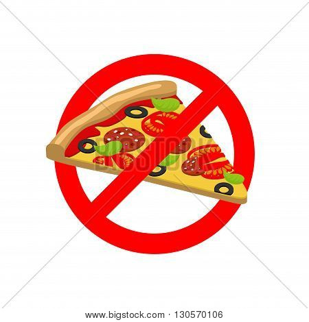 Stop Pizza. Forbidden Fast Food. Crossed Out Slice Of Pizza. Emblem Against Italian Food. Red Prohib