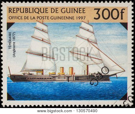 MOSCOW RUSSIA - MAY 20 2016: A stamp printed in Guinea shows ship