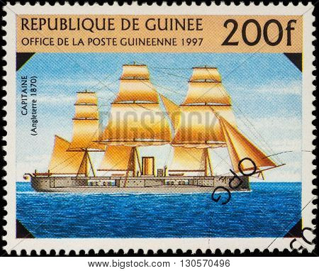 MOSCOW RUSSIA - MAY 20 2016: A stamp printed in Guinea shows old warship