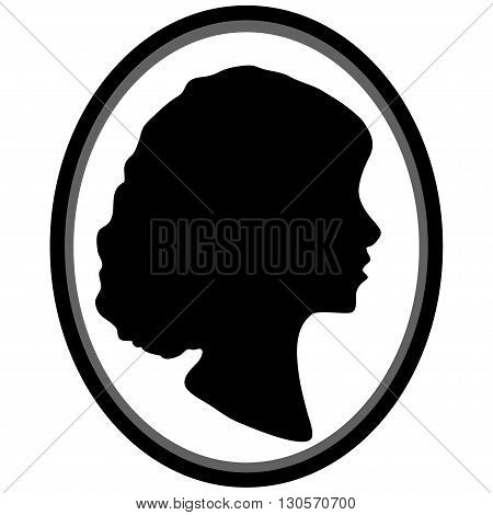 Black and White Illustration of a Cameo Featuring the Silhouette of a Woman