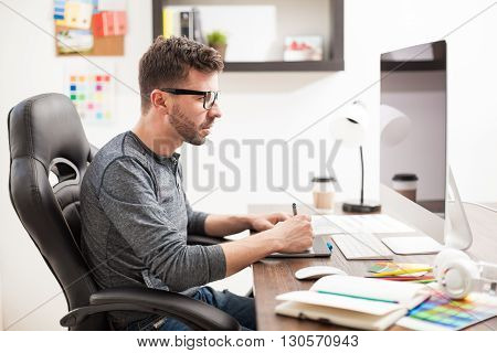 Graphic Designer In A Trendy Workplace