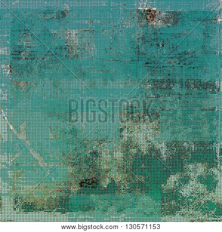 Aged background or texture. Vintage graphic composition with grunge style elements and different color patterns: brown; green; blue; gray; cyan
