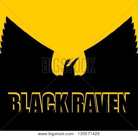Black Raven On Yellow Background. Big Bird. Spread Wings. Silhouette Crow Of  In Sunset